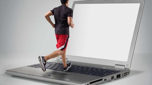 jogger on laptop