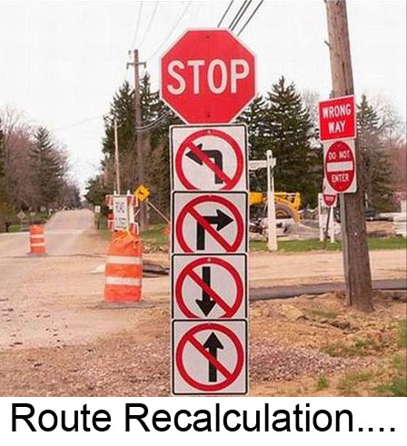 Road signs showing every direction is barred. Route Recalculation