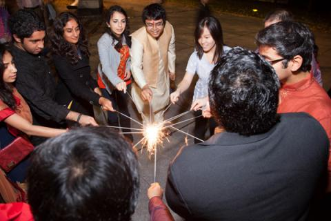 Yale Diwali Puja 2013 lighting sparklers