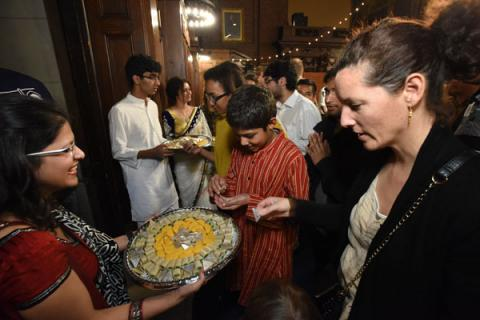 Yale Diwali Pooja 2015 distributing sweets