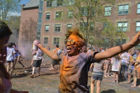 student covered in powders