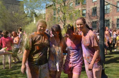 group of students covered in powder