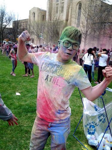 student flinging powder