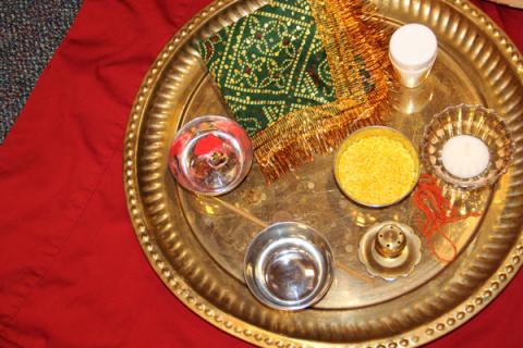 Pooja offerings on a plate