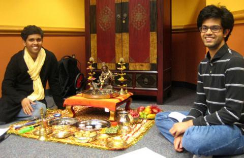 Students preparing to perform Dasara puja