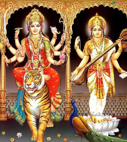 Goddess Durga and Goddess Saraswati