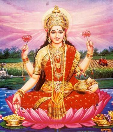 Lakshmi sitting on a lotus