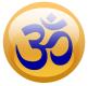 Blue Om symbol on a golden circle background