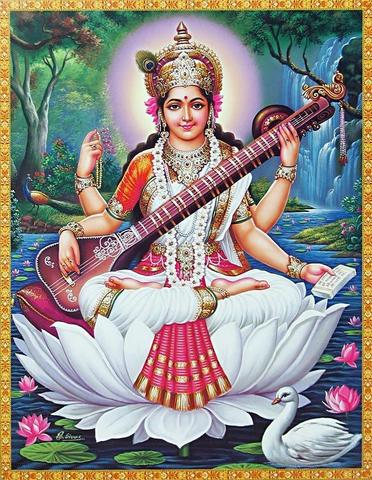 Maha Saraswati sitting on a lotus