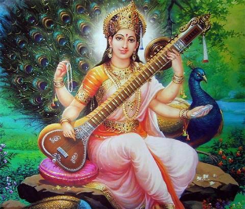Image of Saraswati playing a veena