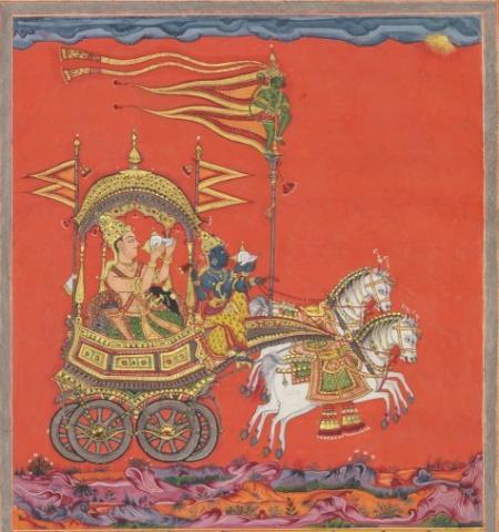 Arjuna and Krishna blow their conches, Jnaneshvari manuscript