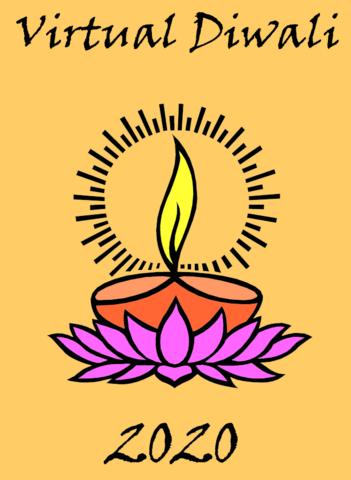 virtual diwali poster with diya and lotus