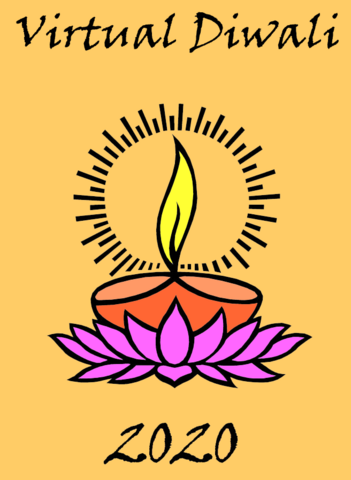 Diwali lamps and flowers on a plate